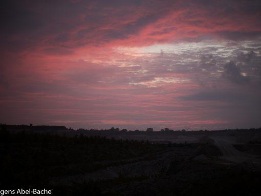 Solopgang over Faxe kalkbrud